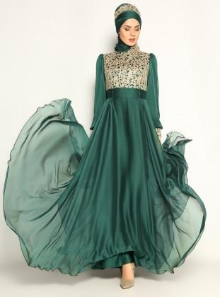 Güpürlü Abiye Elbise - Yeşil Sevdem