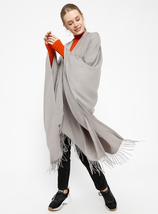 Pashmina Poncho - Light Gray - Ozsoy