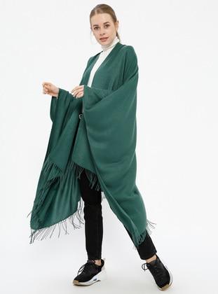 Pashmina Poncho - Dark Green - Ozsoy