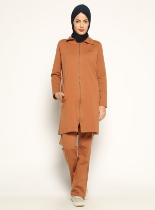 Tan - Polo neck - Tracksuit Set - Allday 165503