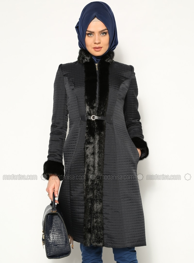 Quilted Topcoat - Navy Blue