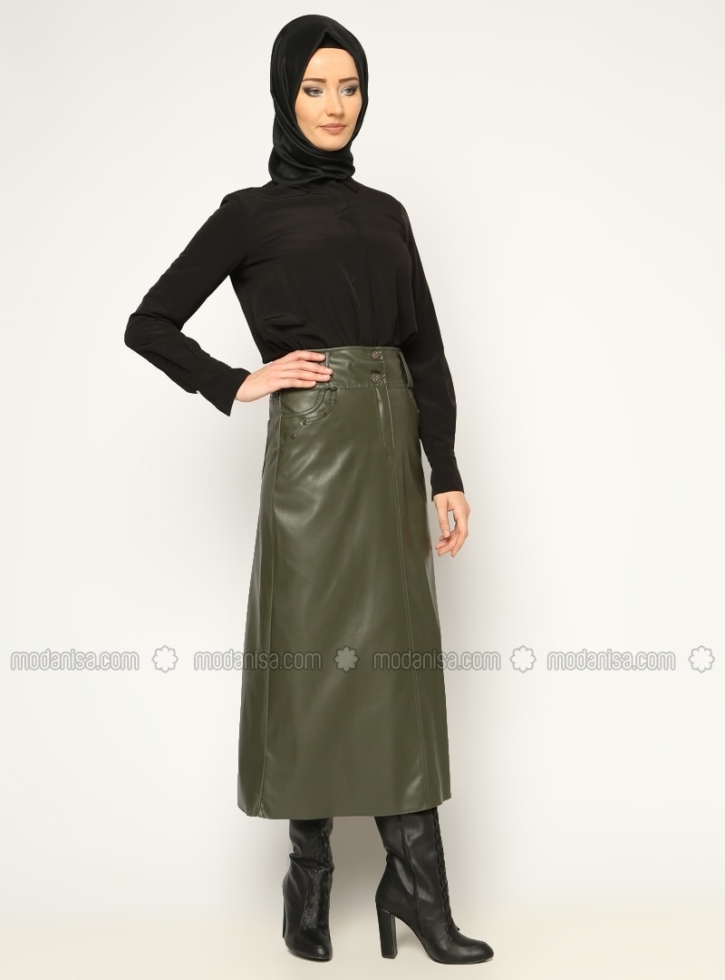 Leather skirt - Khaki - Skirts - Modanisa