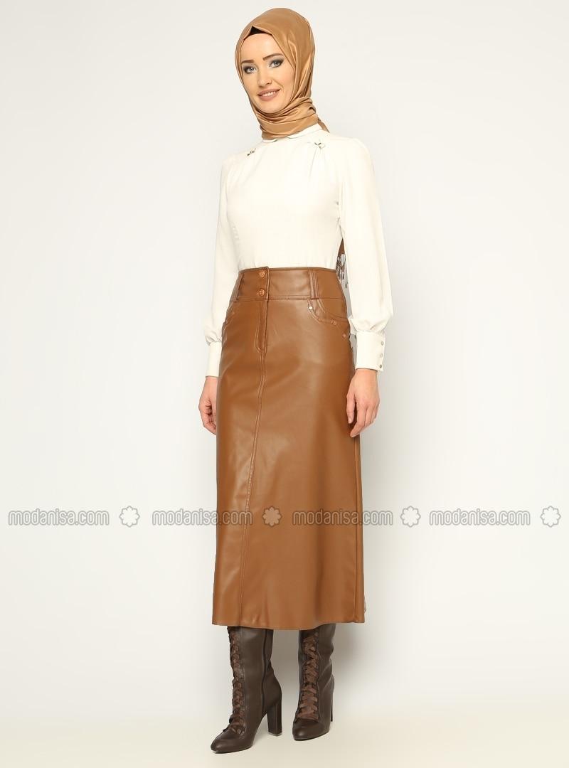 Leather skirt - Brown - Skirts - Modanisa