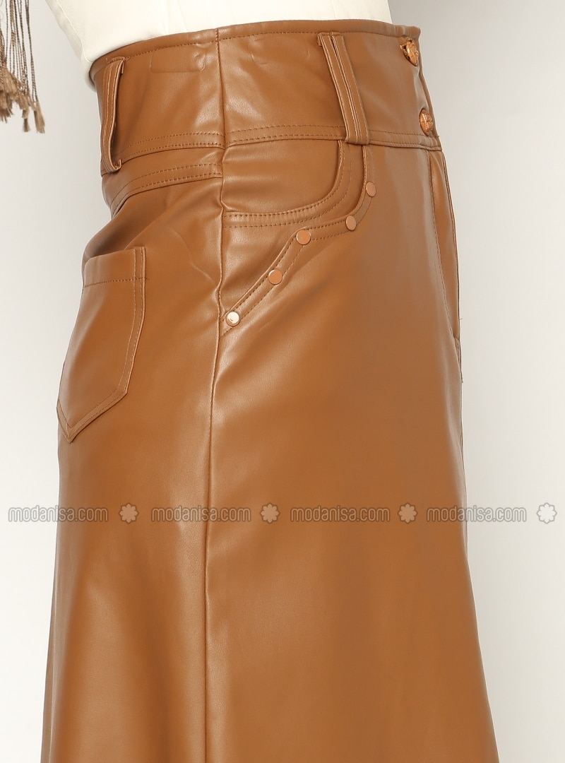 Leather skirt - Brown - Skirts - Modanisa