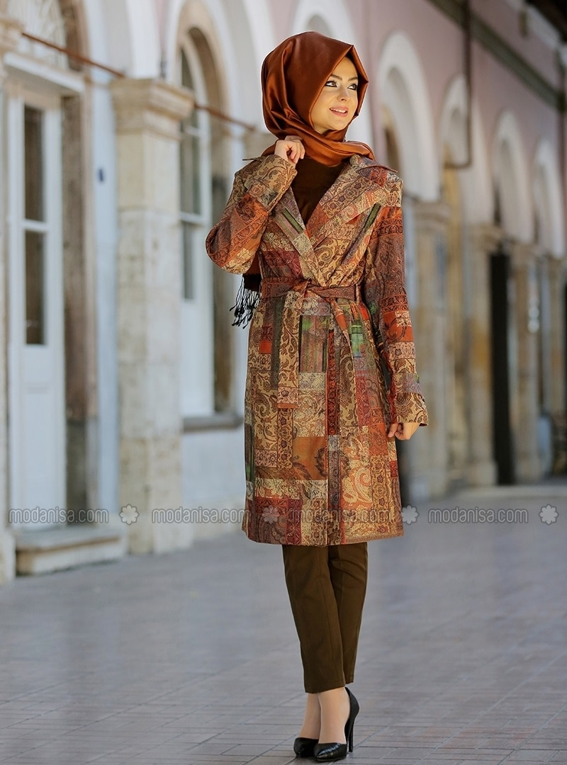 Rug Patterned Trench coat - Tan - Pinar Sems