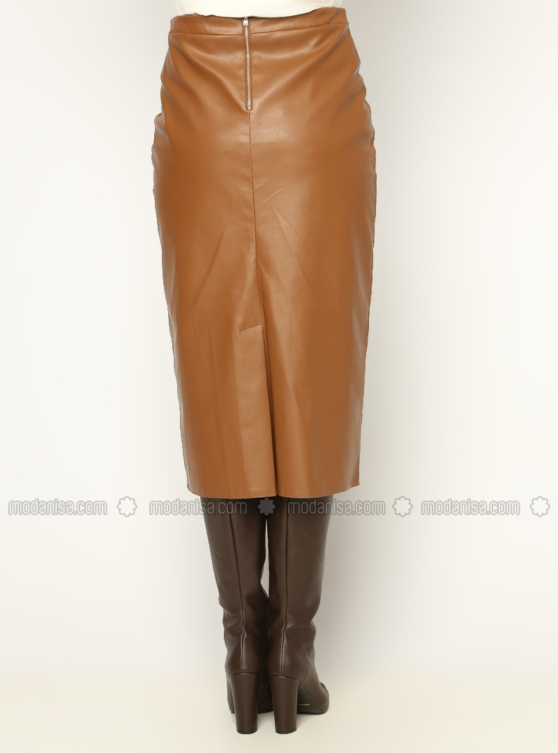 Classic Leather Skirt - Brown - Skirts - Modanisa
