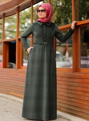 Damla Kadife Elbise - Yeşil
