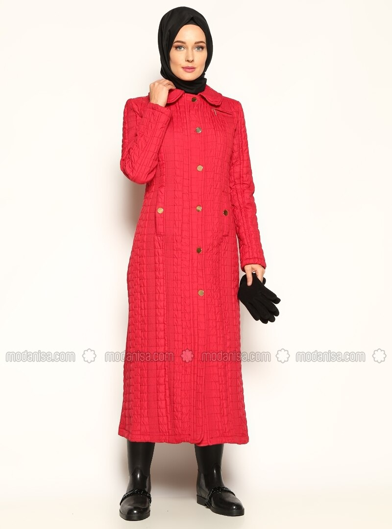 Quilted Coat - Red