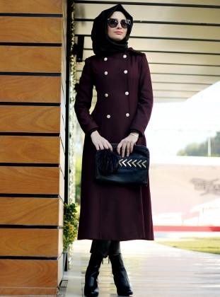 Belinay Coat - Maroon - Nurbanu Kural