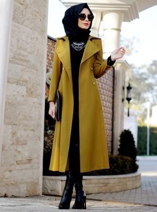 Belinay Overcoat - Mustard - Nurbanu Kural
