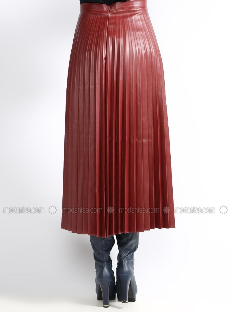 pleated leather skirt maroon mustafa dikmen