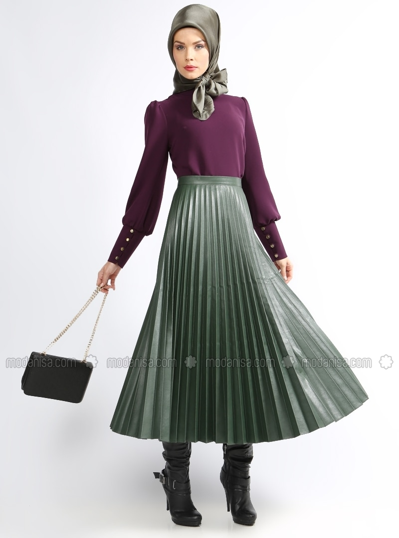 Piliseli Leather Skirt - Green - Skirts - Modanisa