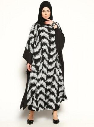Abaya - Siyah-Beyaz Tüy Desenli