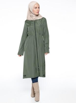 Hooded Raincoat - Khaki - Vivezza