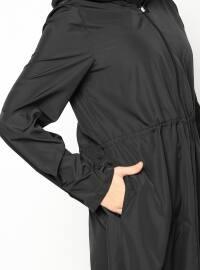 Hooded Raincoat - Black