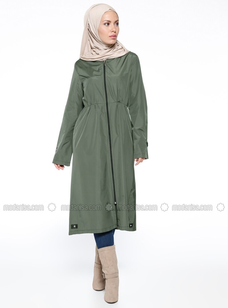 Hooded Raincoat - Khaki