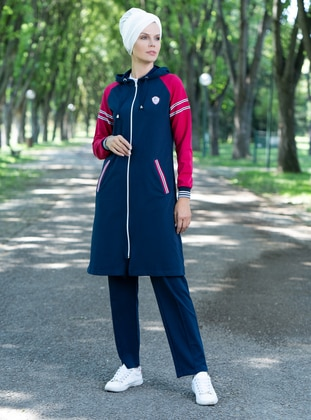 Navy Blue - Pink - Tracksuit Set