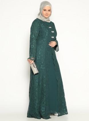 Önü Broş Detaylı Abiye Elbise - Yeşil - Sevdem
