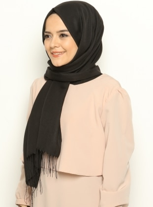 Black - Plain - Shawl - Mervin Şal