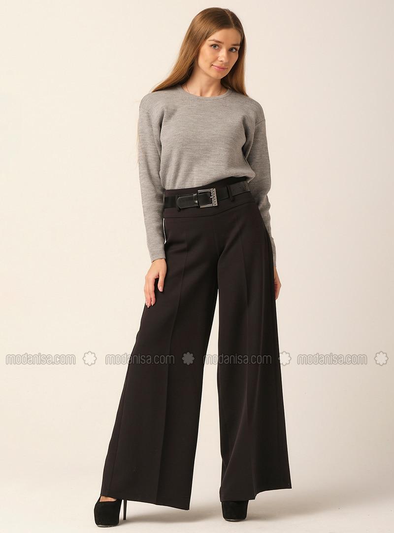 Wide Leg Pants - Black