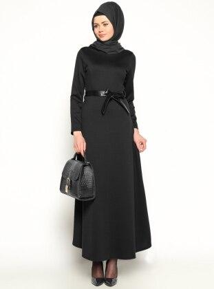 Eflatun Deri Kemerli Elbise - Siyah