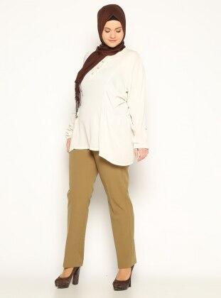 Klasik Pantolon - Yağ Yeşili Bufin
