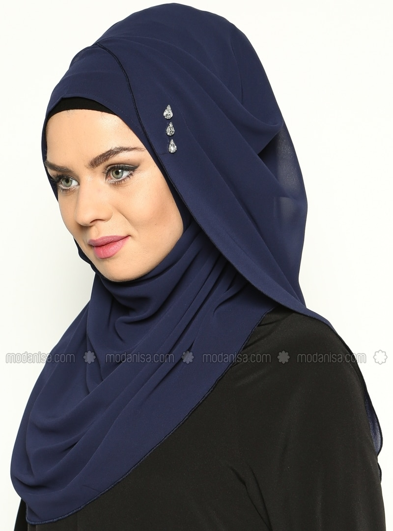 Navy Blue - Pinless - Instant Scarf