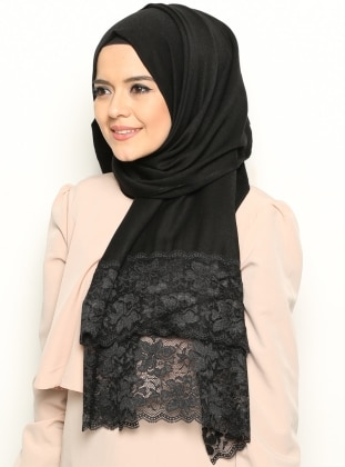 Lace Detailed Shawl - Black