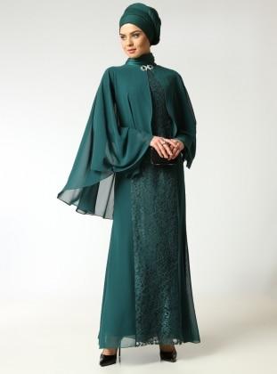 Pelerinli Abiye Elbise- Yeşil