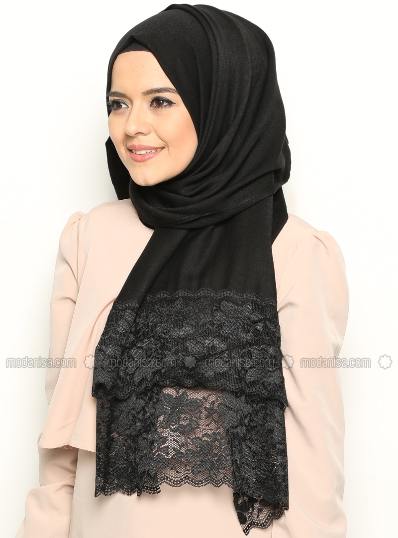 Lace Detailed Shawl - Black