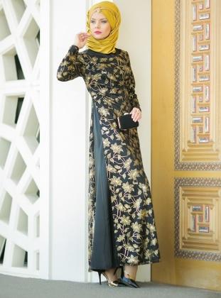 Dantelli Abiye Elbise - Siyah