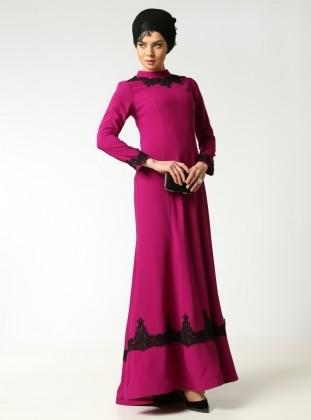 Güpür Detaylı Abiye Elbise - Erguvan