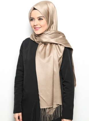 Minc - Beige - Two-way - Plain - Fringe - Shawl