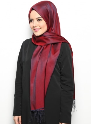 Navy Blue - Maroon - Two-way - Plain - Fringe - Shawl