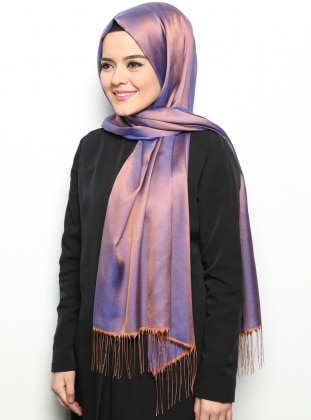 Purple - Tan - Two-way - Plain - Fringe - Shawl