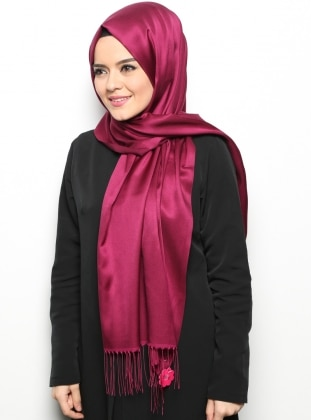 Purple - Two-way - Plain - Fringe - Shawl