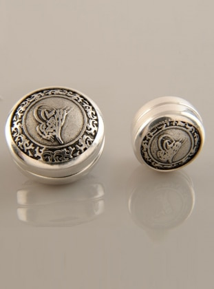 Scarf Magnet - Silver-Plated - Ottoman Tughra - Dual Set - Fsg Taki