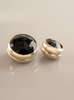Scarf Magnet - Black- Gold-Plated Frame - Dual Set - Fsg Taki