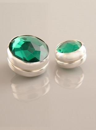 Zümrüt Yeşili Gümüş Kaplama Eşarp Mıknatısı - İkili Takım - Fsg Takı Ürün Resmi