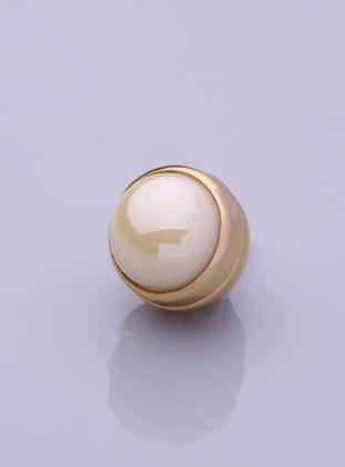 Parlak Krem Altın Kaplama Eşarp Mıknatısı Fsg Takı
