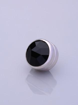 Scarf Magnet - Black - Silver-Plated Frame - Fsg Taki