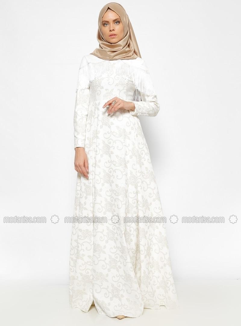 Afife Fringed Brocade Evening Dress - Ecru - Mevra