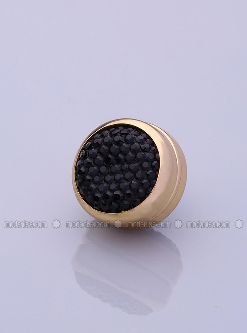 Scarf Magnet - Black - Altın-Plated Frame - Fsg Taki