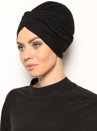 Black - Cotton - Plain - Pinless - Instant Scarf