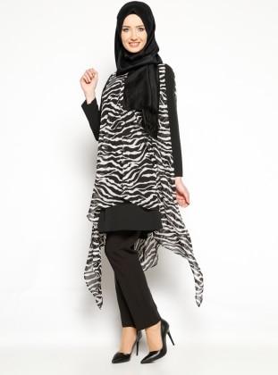 Zebra Desenli Şifon Tunik - Siyah Beyaz Arzu Ergen
