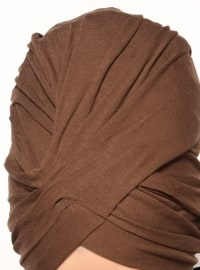 Brown - Cotton - Plain - Pinless - Instant Scarf