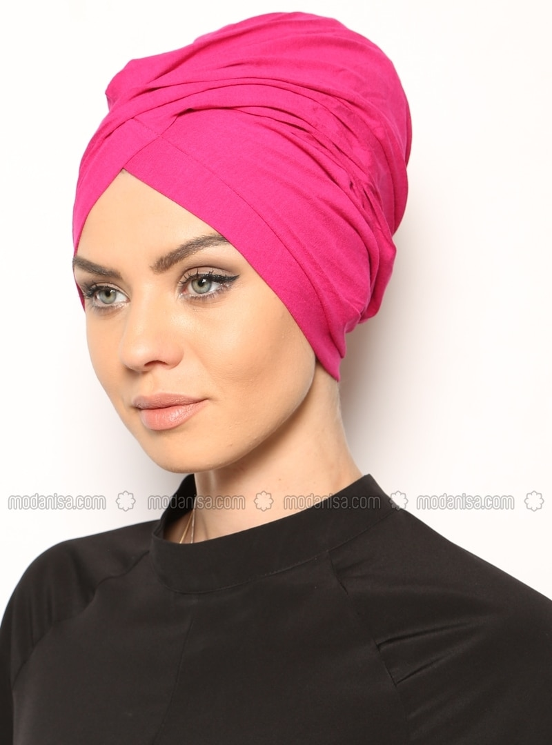 Pink - Cotton - Plain - Pinless - Instant Scarf