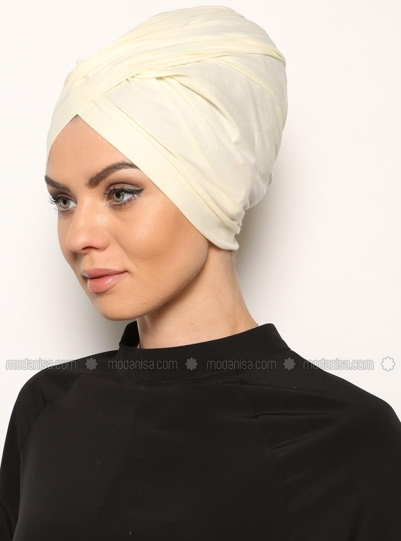 Plain - Cotton - Ecru - Instant Scarf