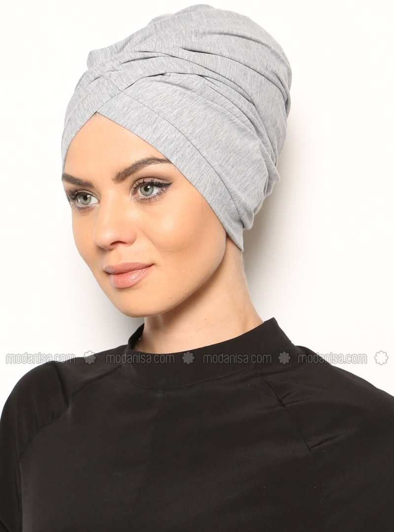 Gray - Cotton - Plain - Pinless - Instant Scarf