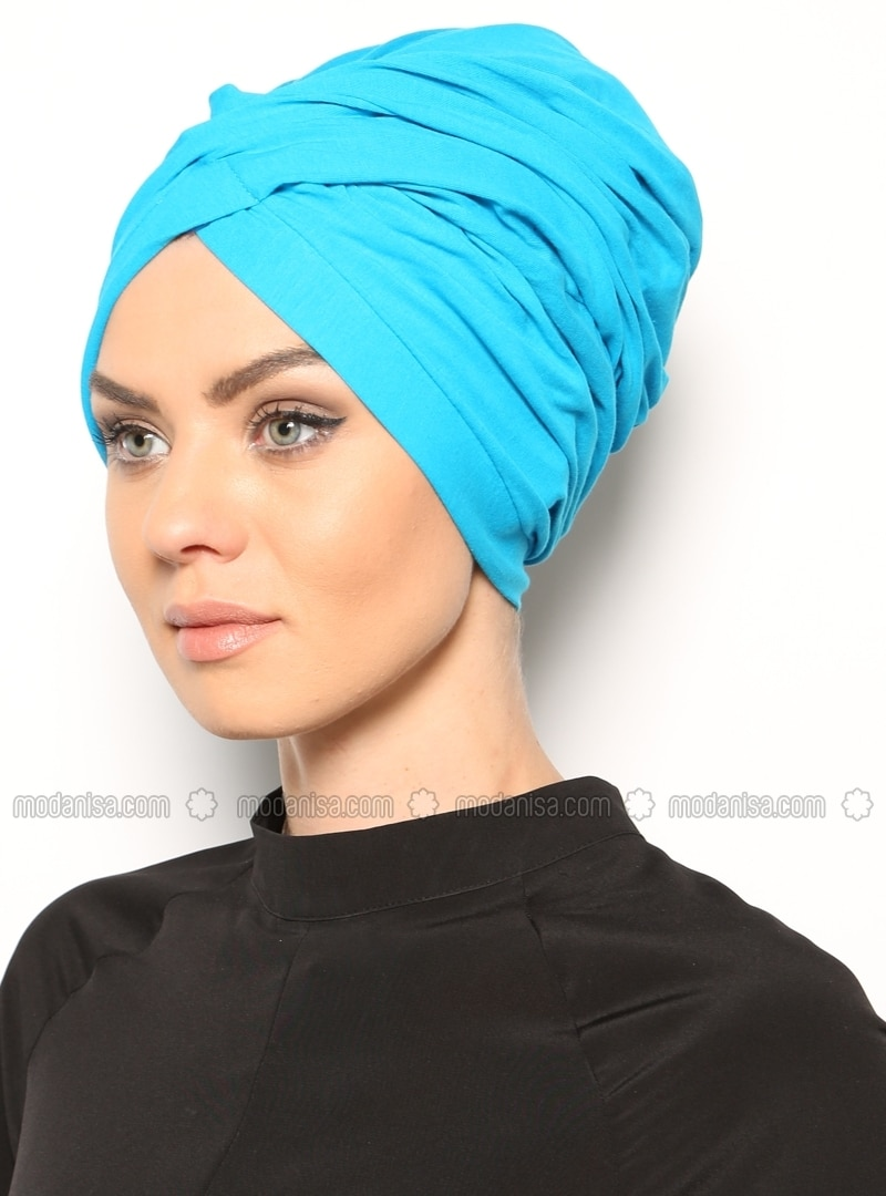 Cotton - Plain - Blue - Instant Scarf